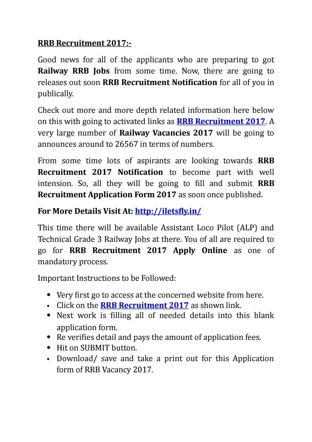 Rrb recruitment 2017 railway vacancies notification