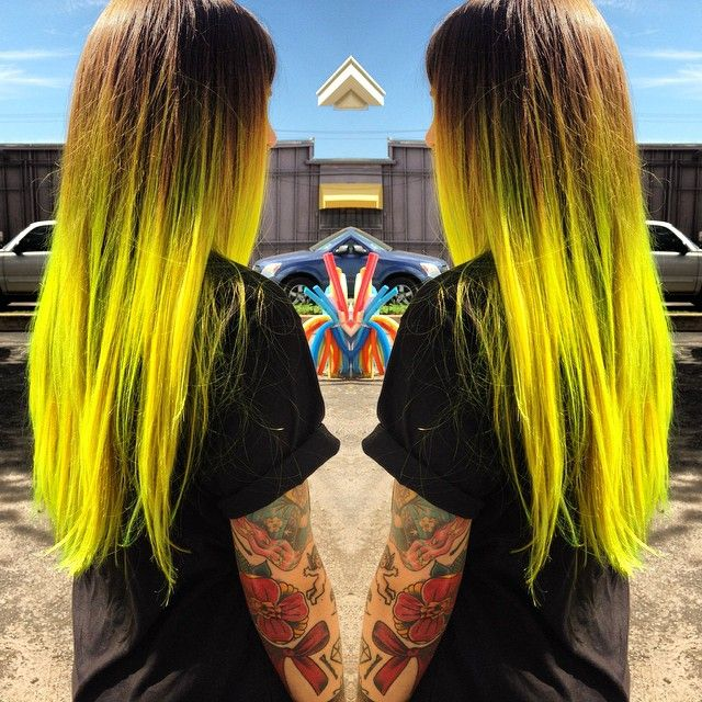 brown neon yellow ombre hair
