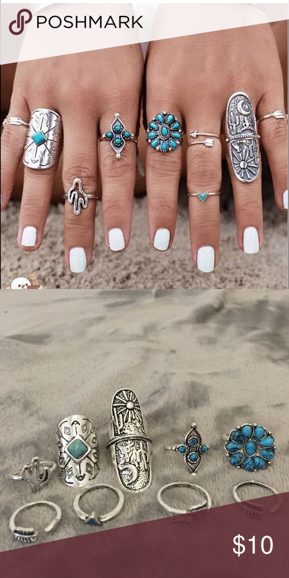 Set of 9 desert style western turquoise boho rings Brand new. NOT child of wild but similar in style Child of Wild Jewelry Rings