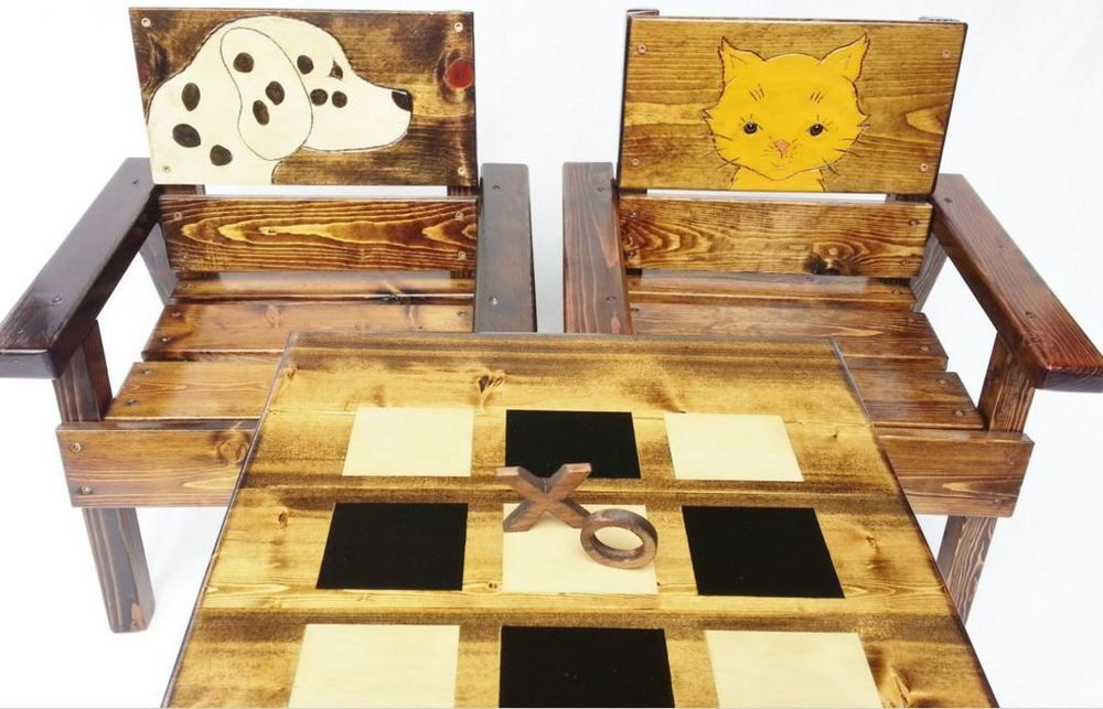 Ebay Kids Table Chairs Wood Game Play Indoor Outdoor