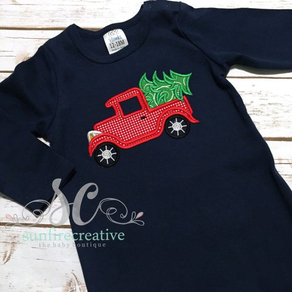 Christmas Outfit Baby Boy Navy Romper Christmas Tree Truck Baby Christmas Outfit Custom Baby Clothes Christmas Outfit