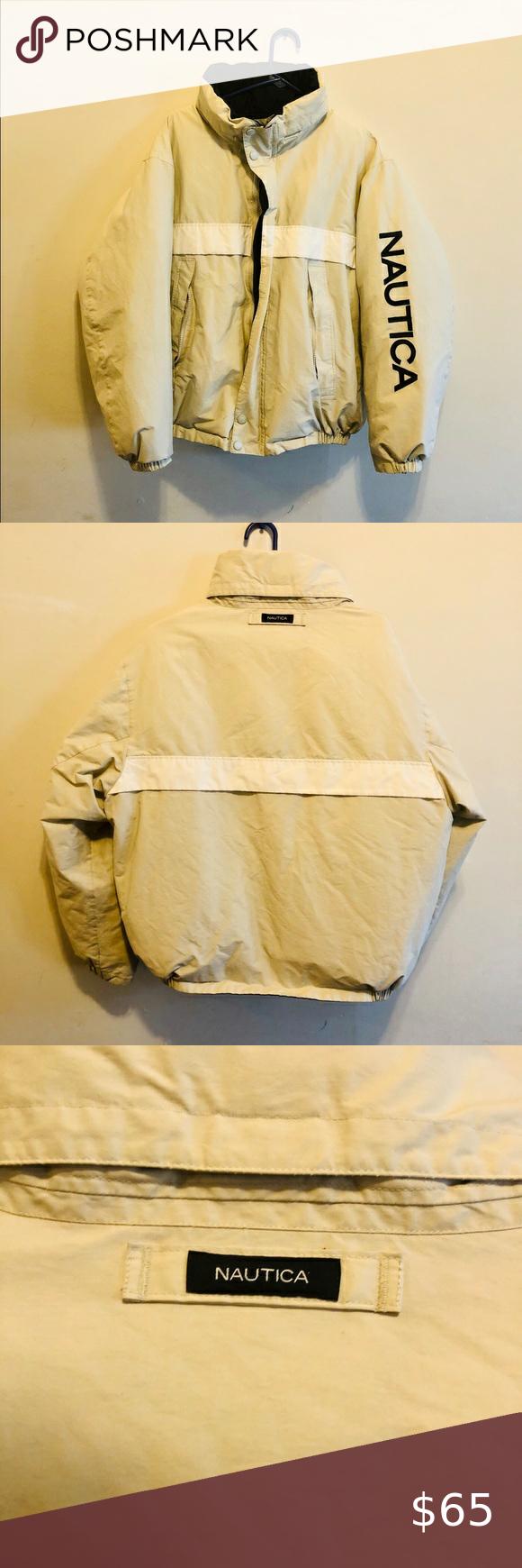 Nautica Reversible Goose Down Jacket With Hood Down Jacket Hooded Jacket Collar Jackets [ 1740 x 580 Pixel ]