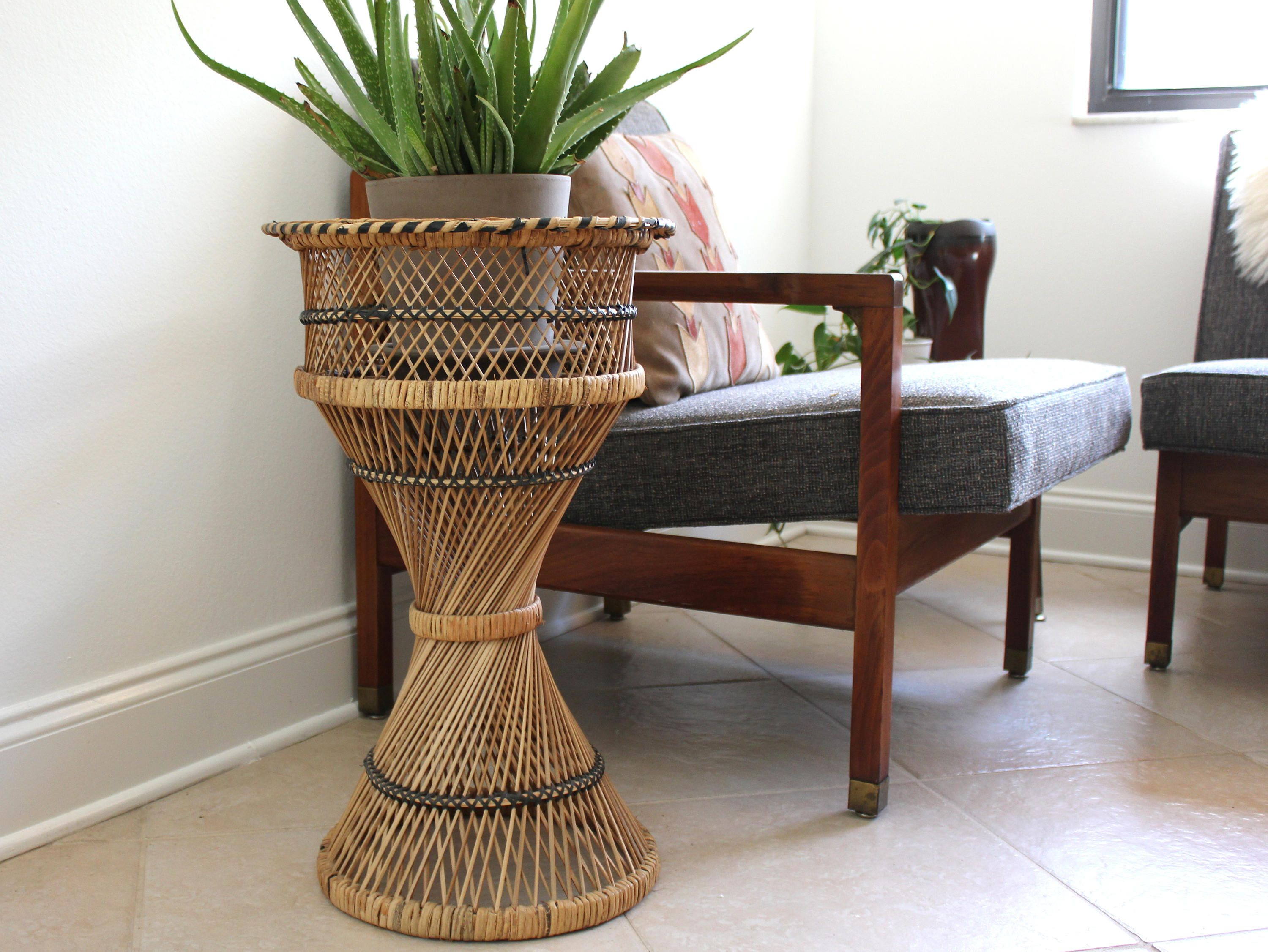 Rattan Pedestal Plant Stand Holder Boho Beach Decor By Kollektive On Etsy