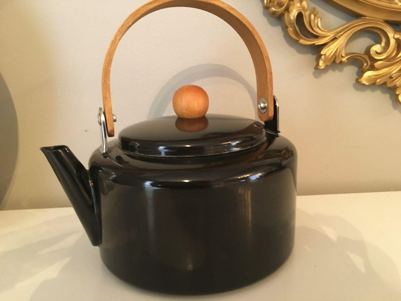 Vintage Enamel Tea Kettle Modern Black Wooden Handle Scandi Look by vintagefrombutterfly on Etsy