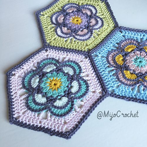 Painted flower hexagon \
