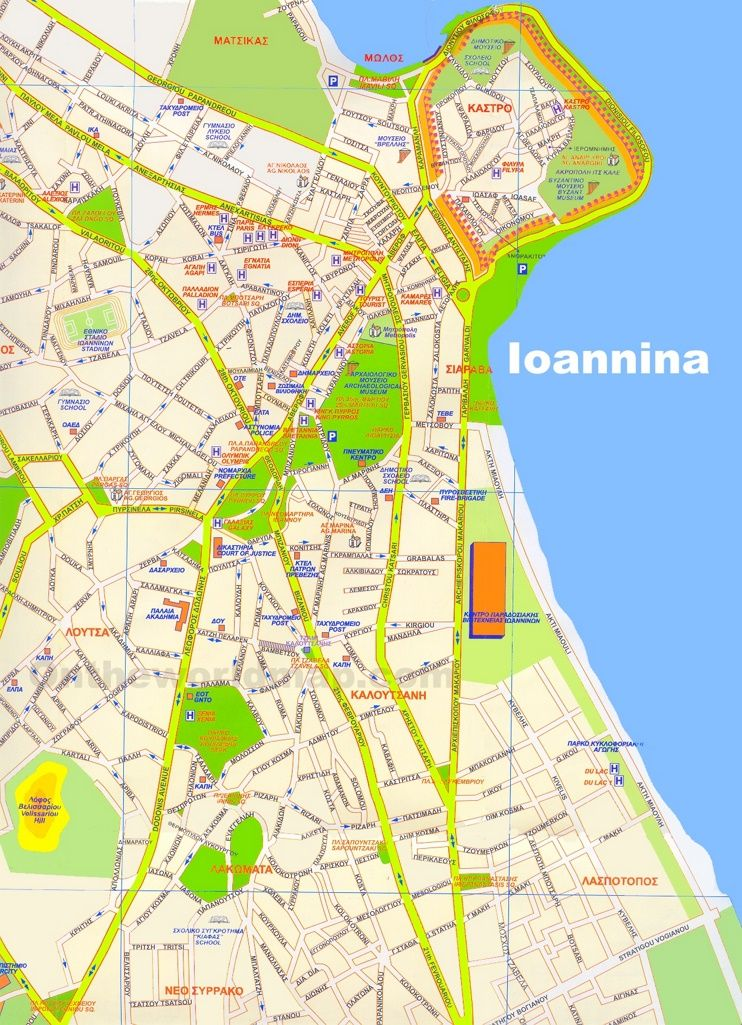 Ioannina hotels and sightseeings map | Maps | Pinterest | Map и City