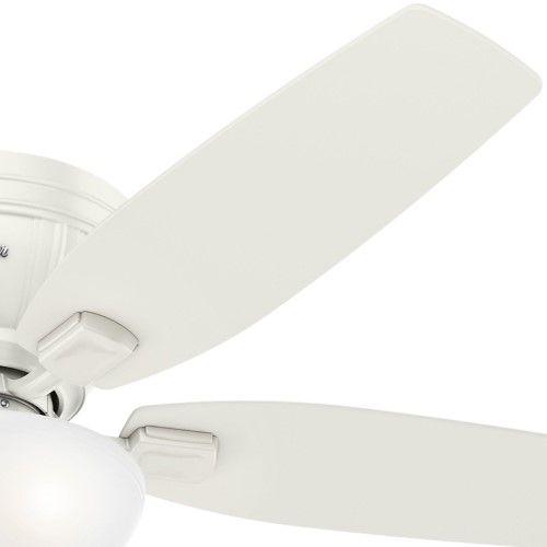 Flush mount indoor ceiling fan with light jet com