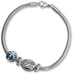 Connections From Hallmark Pave Crystal Charm And Stainless Steel Celebrate Life Bracelet Set 7 75