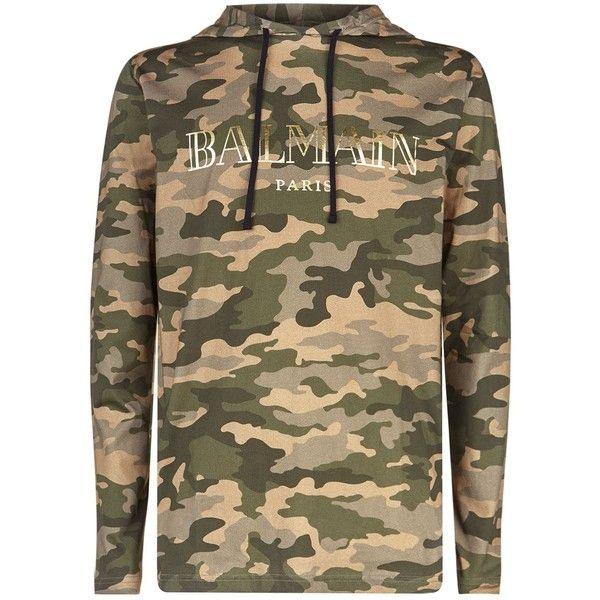 17081b28 Balmain Camouflage Hooded T-Shirt (670 CAD) ❤ liked on Polyvore featuring  men's fashion, men's clothing, men's shirts, men's t-shirts, mens camouflage  ...
