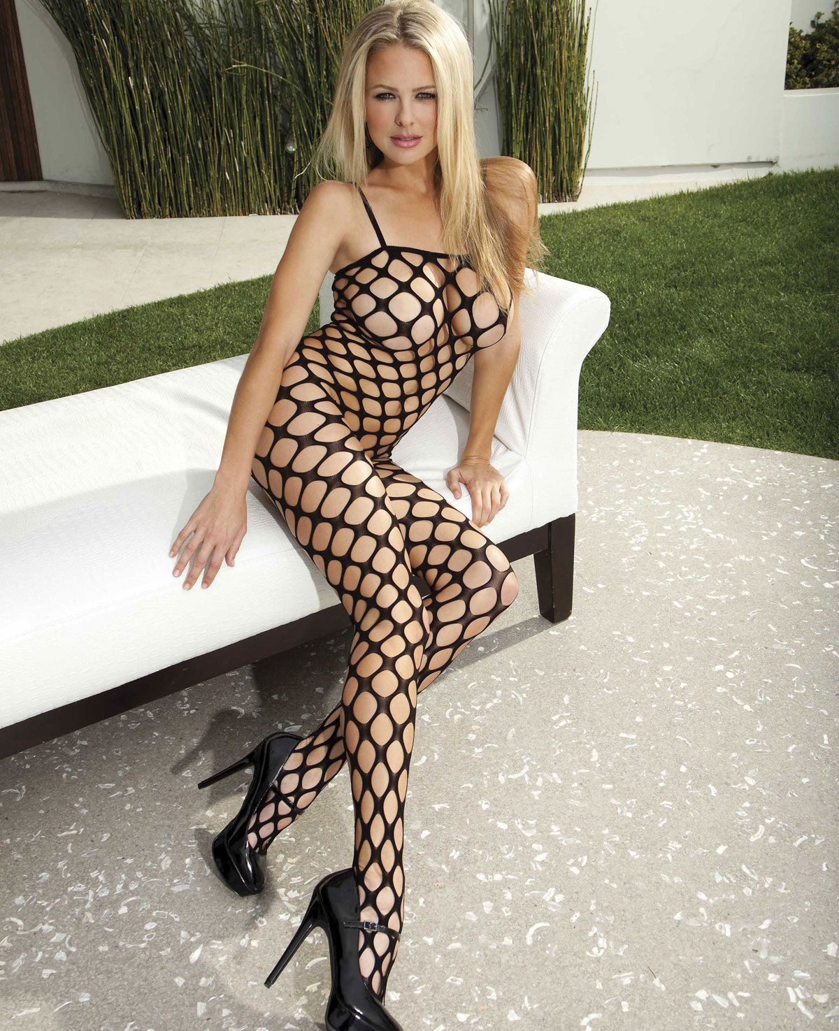 f4fb18f7ff Shirley Of Hollywood Large Hole Fishnet Bodystocking