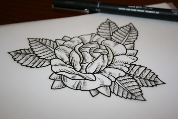 Simple Line Art Rose : Traditional rose tattoos tattoo and