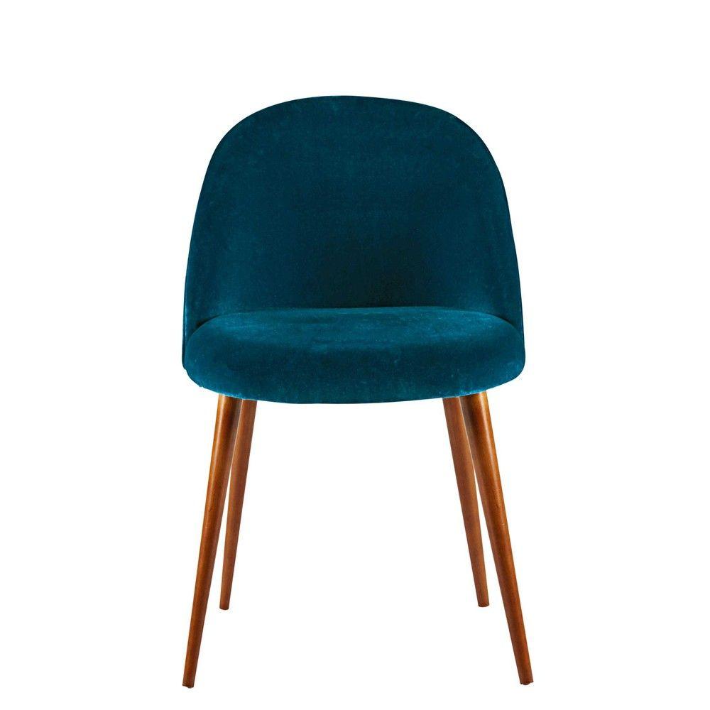chaise en velours bleu canard et bouleau massif mauricette. Black Bedroom Furniture Sets. Home Design Ideas