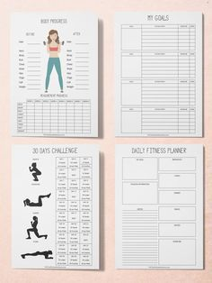 Fitness Planner, Workout Planner, Printable Planner Kit, Workout Tracker Printable