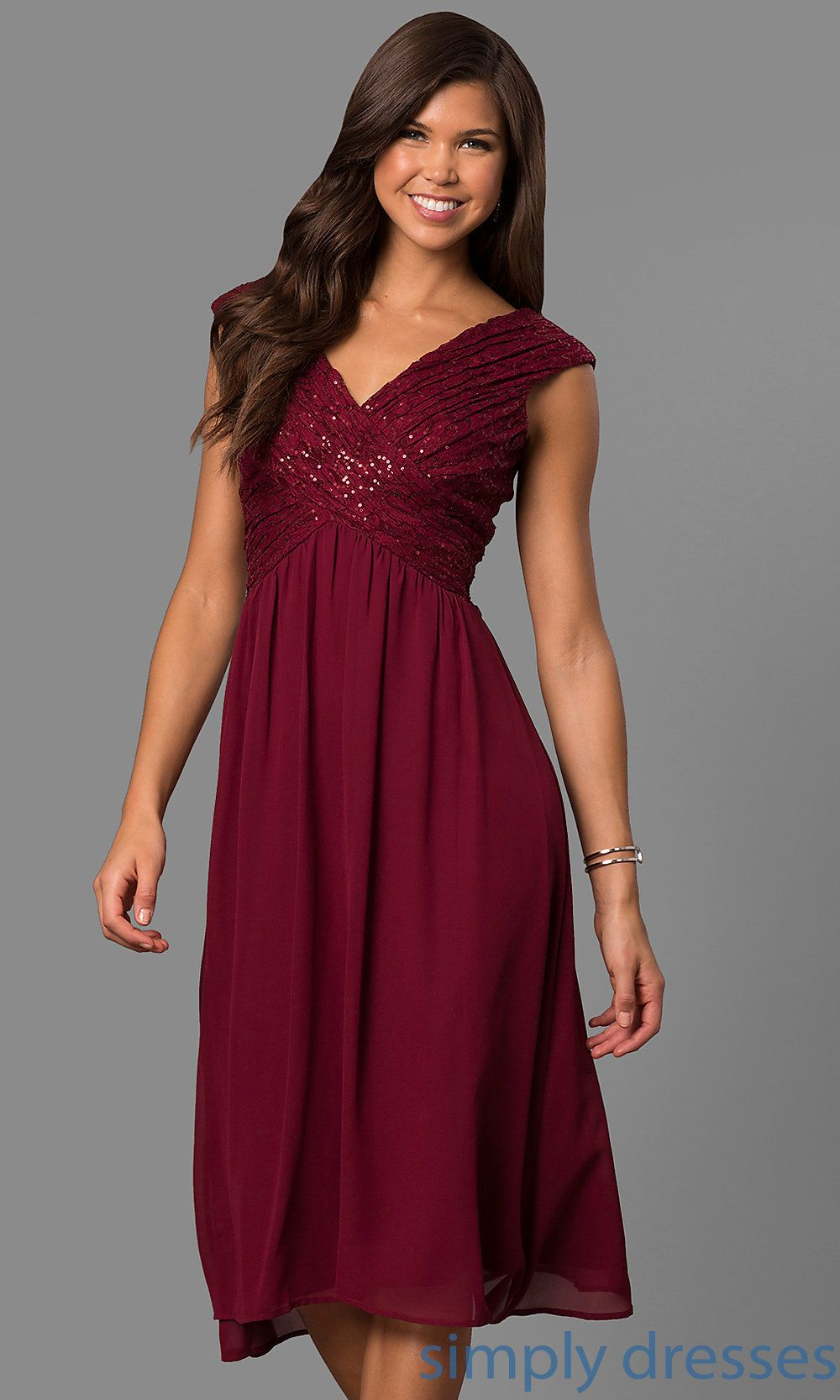 Shop short bridesmaid dresses at Simply Dresses. Cheap knee-length  semi-formal party dresses under  100 with v-necklines and sequin-lace  bodices. 2fe381ebeedf