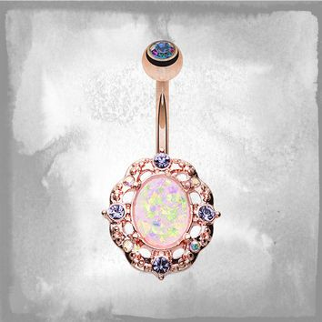 Opal Rose Gold Belly Button Rings Belly Rings Piercing Inspiration