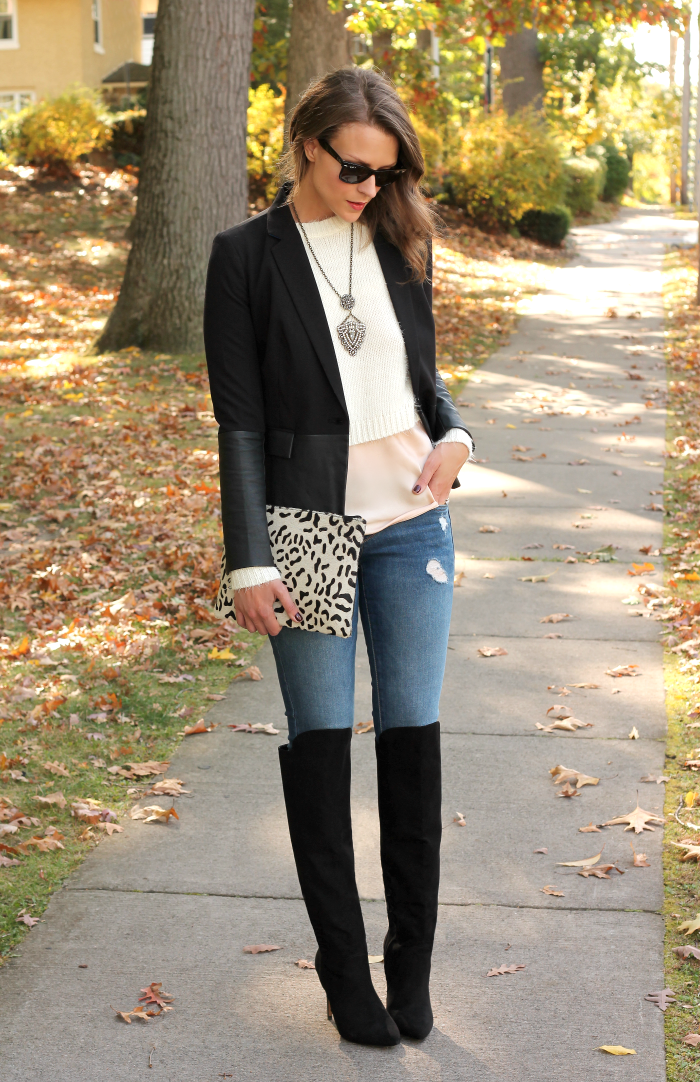 e85809e2fcd4 black blazer white crop sweater pink peplum blouse distressed skinny jeans  black over the knee boots