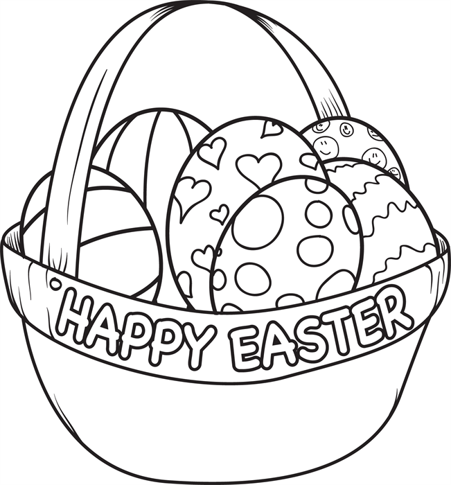 Easter Egg Basket Coloring Page | Easter egg basket, Egg basket and ...