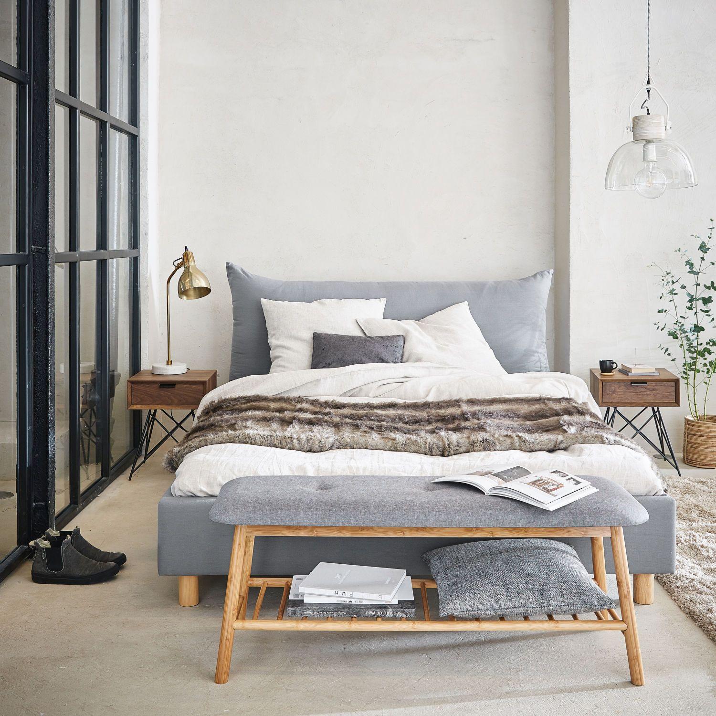 Bett 140x190, grau Grey bedding, Furniture, Interior design