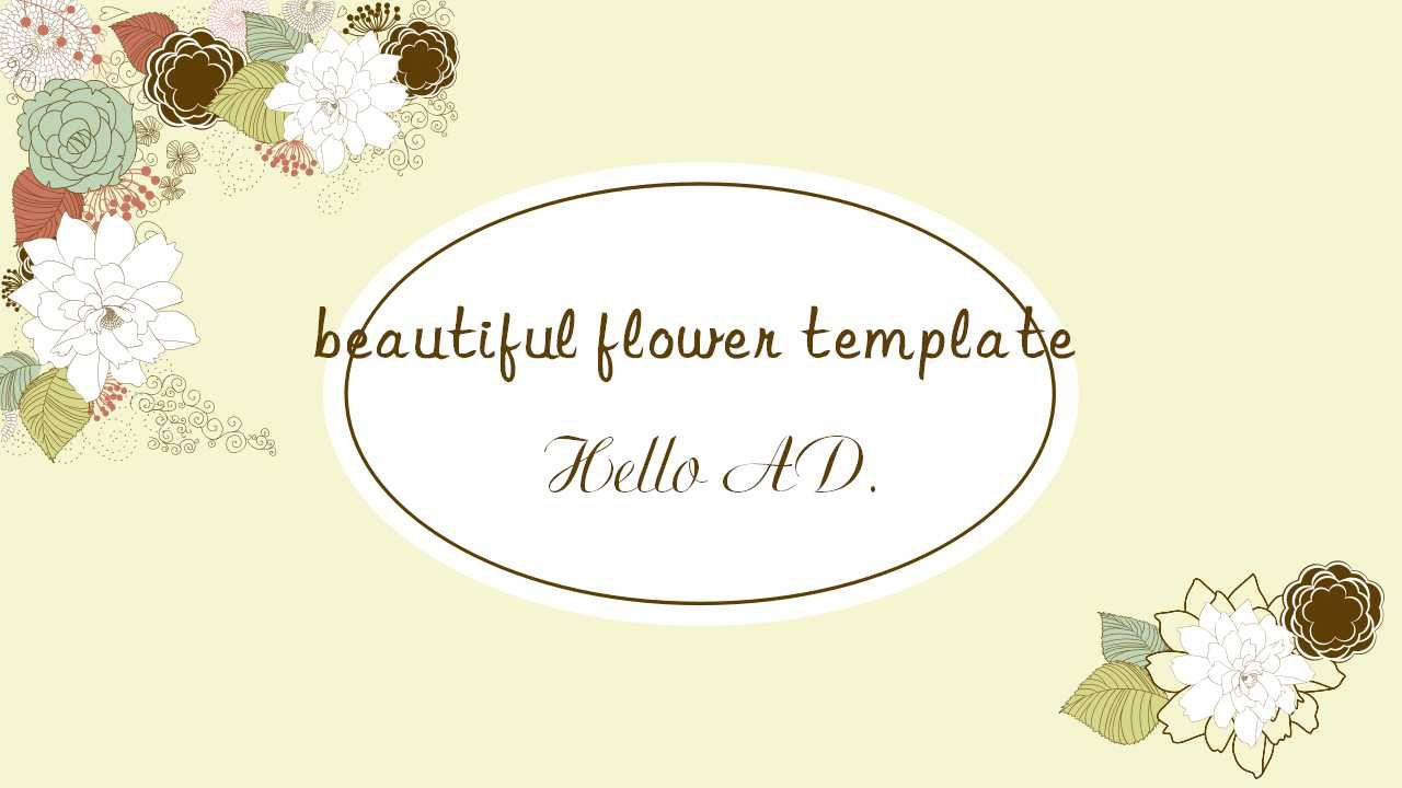Literary Beautiful Flower Ppt Template Free Point Templates And Google Slides Themes Slideshow