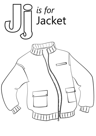 Letter J is for Jacket coloring page from Letter J