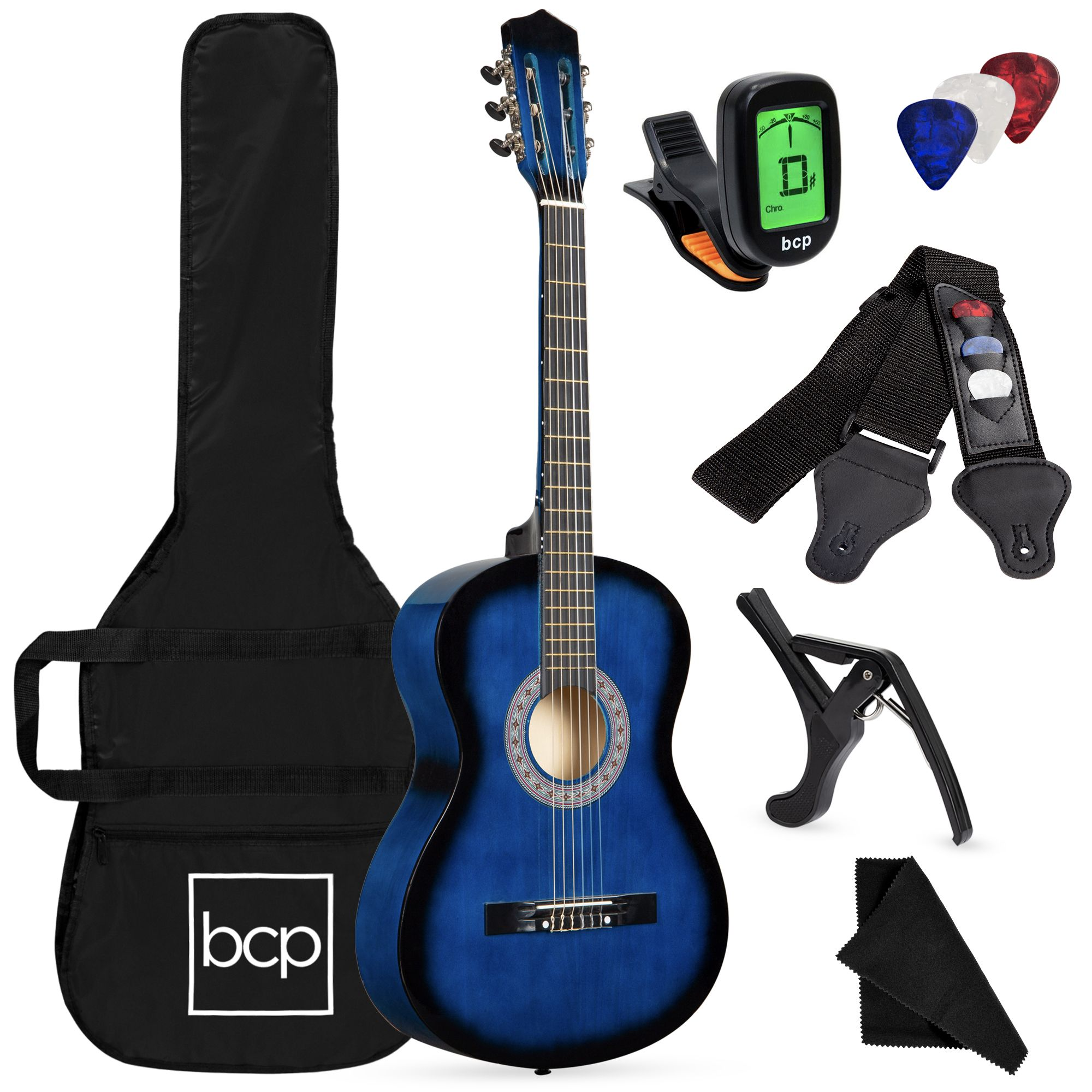 Best Choice Products 38in Beginner Acoustic Guitar Starter Kit W Case Strap Digital Tuner Pick Strings Blueburst Walmart Com In 2021 Digital Tuner Acoustic Guitar Guitar