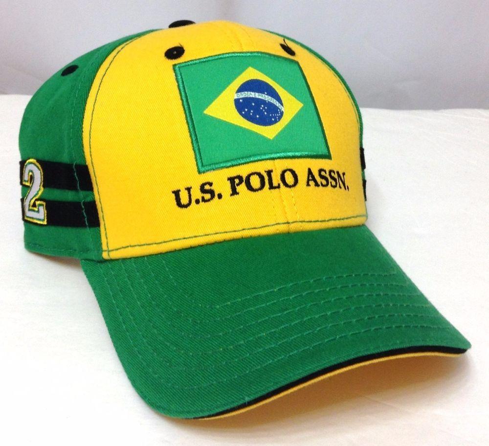 8231fd58880 US POLO ASSN TEAM BRAZIL HAT Yellow Green Brazilian Flag Adjustable  Men Women 24  USPoloAssociation  BaseballCap
