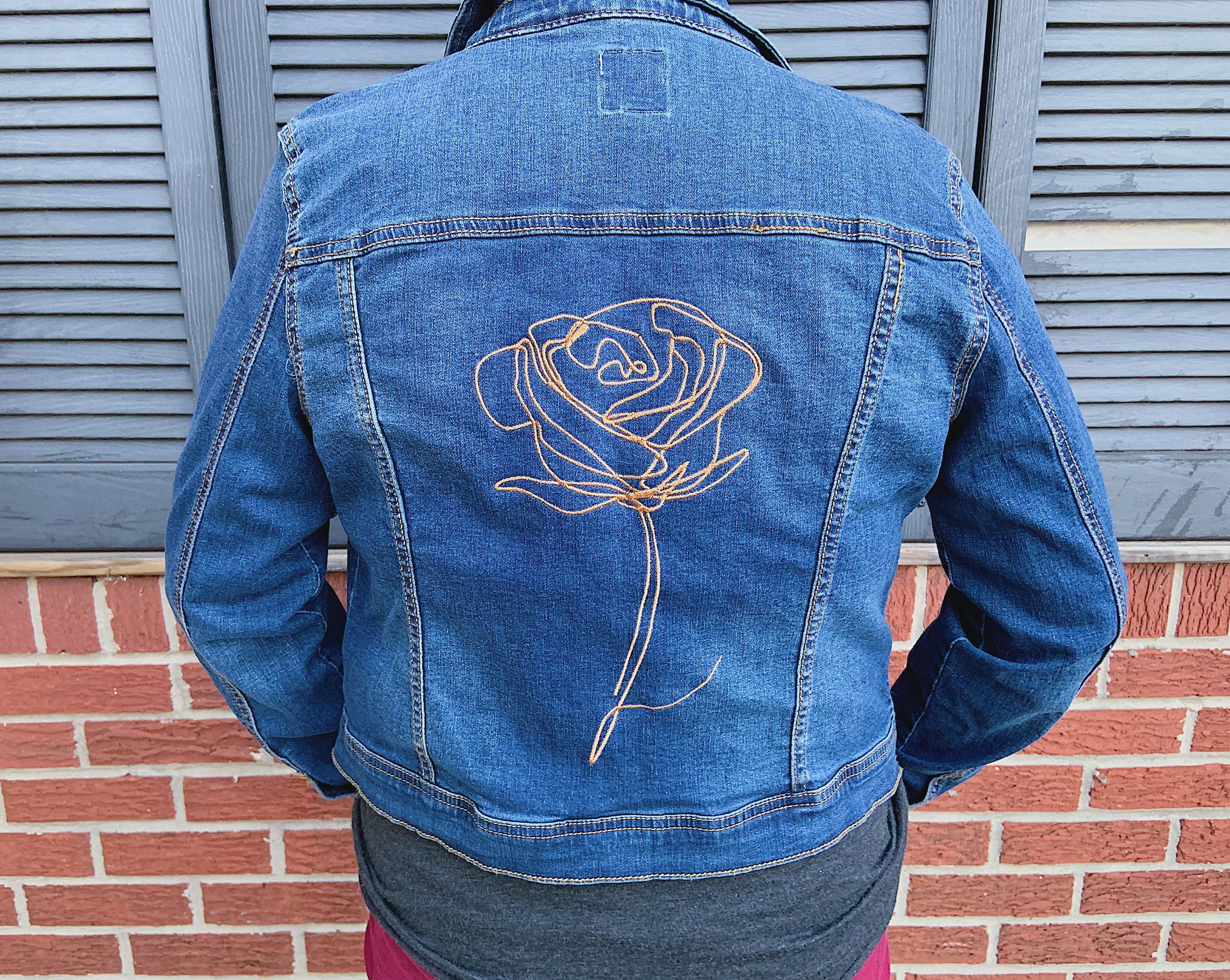Rose Embroidered Jean Jacket Beautiful Shimmery Rose Gold Thread Rose Embroidered Jeans Embroidered Jean Jacket Rose Embroidered Jacket [ 2390 x 3000 Pixel ]