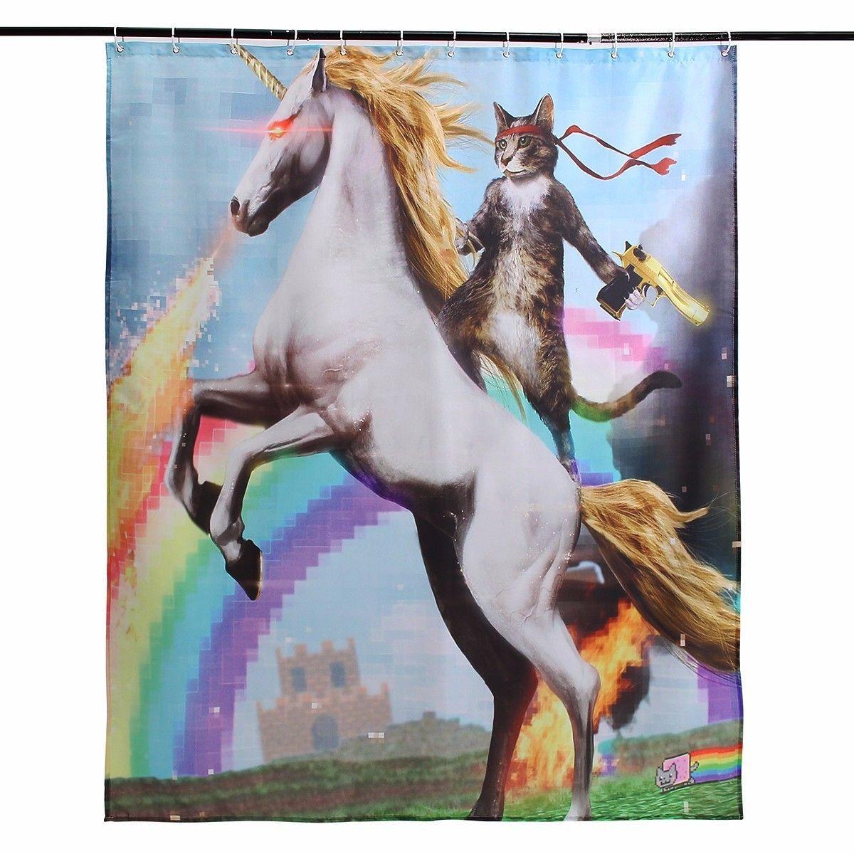 12 Hooks 180X150CM Unicorn and Cat Polyester Fabric