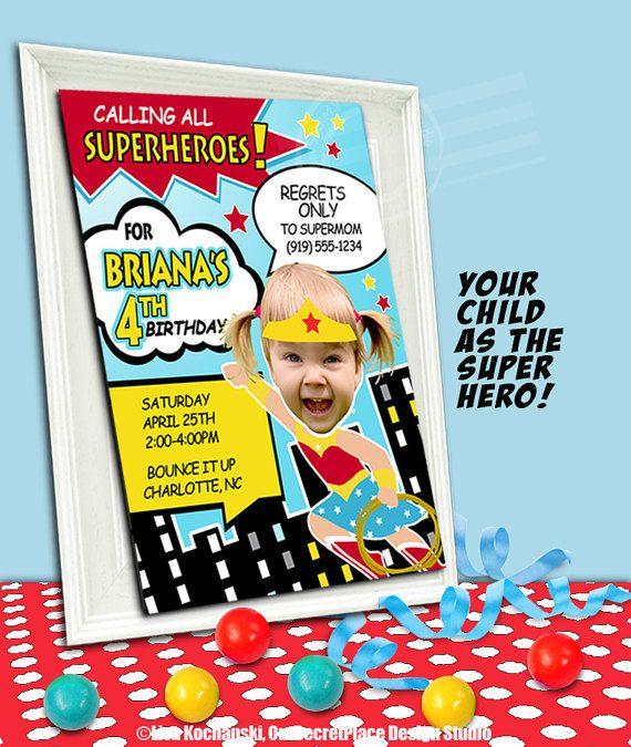 Printable Wonder Woman Birthday Invitations For Girls Superhero