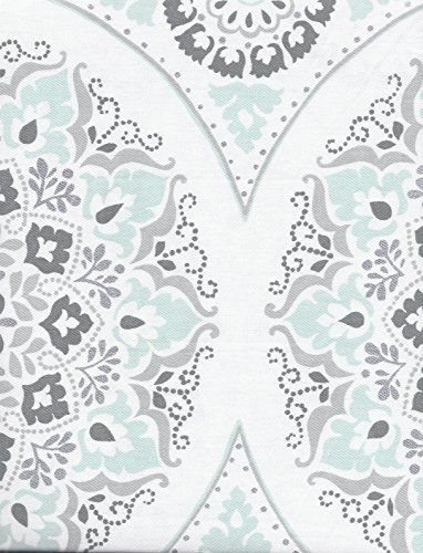 Caro Home Fabric Shower Curtain Teal And Silver Medallions Caro