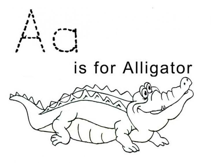 letter a is for alligator free printable coloring sheet | animal ... - Letter A Alligator Coloring Pages