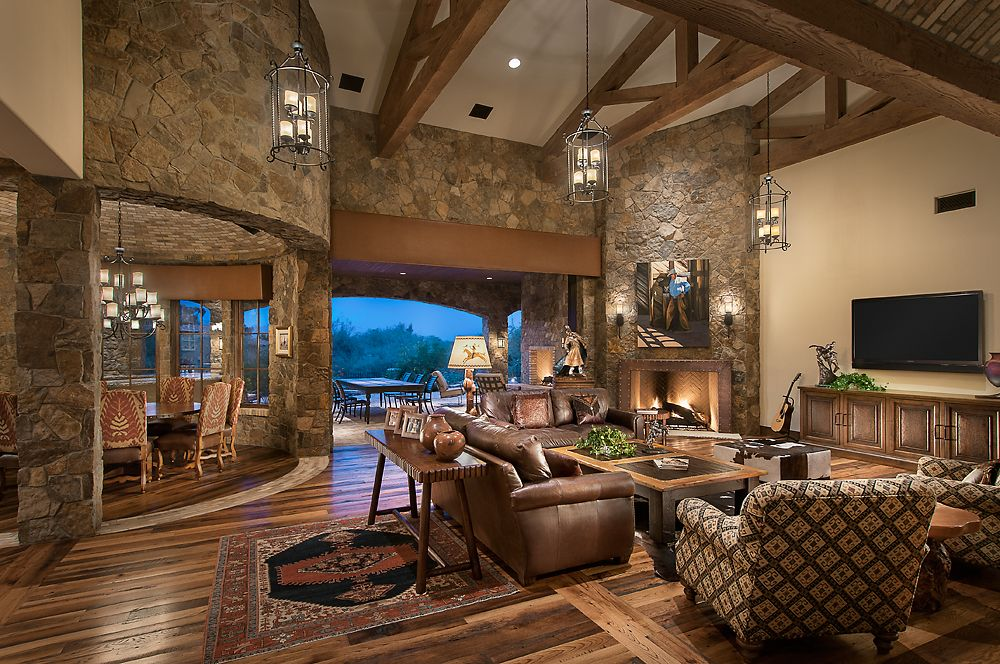 Love the mix of stone wood floors timbers neutral - Ranch house living room decorating ideas ...