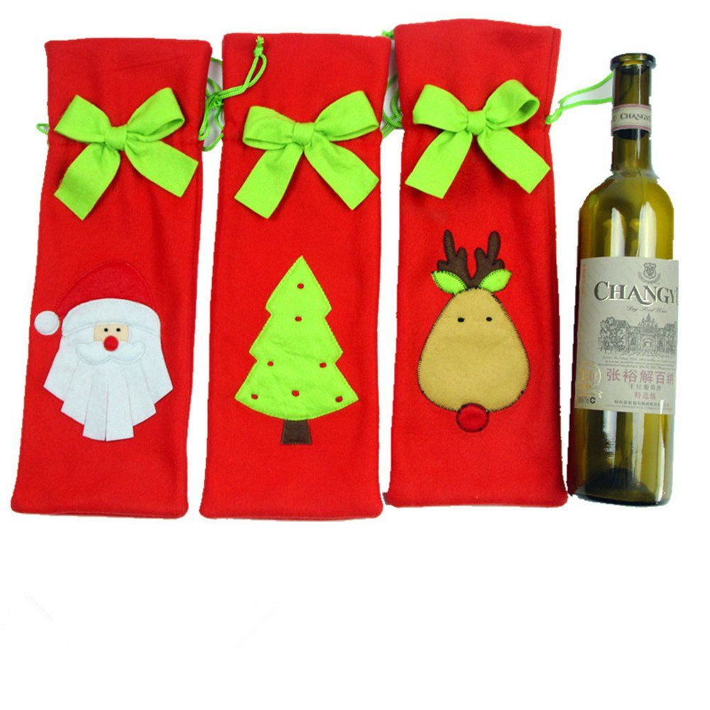 Homecube 3pcs Santa Claus Wine Bottle Cover Red Wine Bags With Pretty Tie Christmas Gift Christmas Wine Bottle Covers Christmas Wine Bottles Wine Bottle Covers
