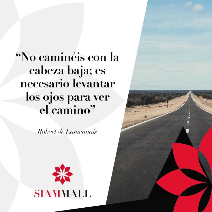 """Don't walk with your head low; it's necessary look up to see the path ahead"". - Robert de Lamennais #CCSiamMall #Quote"
