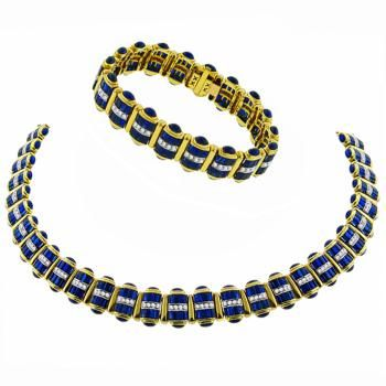 Vintage 24.40ct Cabochon & Baguette Cut Sapphire 3.00ct Round Cut Diamond 18k Yellow Gold Necklace & Bracelet Set - See more at: http://www.newyorkestatejewelry.com/jewelry-sets/estate-24.40ct-sapphire-3.00ct-diamond-gold-necklace-and-bracelet-set-/25175/10/item#sthash.fSYSuEhm.dpuf