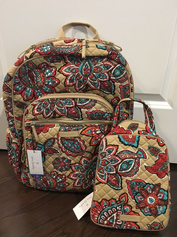 9f2a714464 NEW Vera Bradley DESERT FLORAL Iconic Campus Backpack   Lunch Bunch -  School Bag  fashion