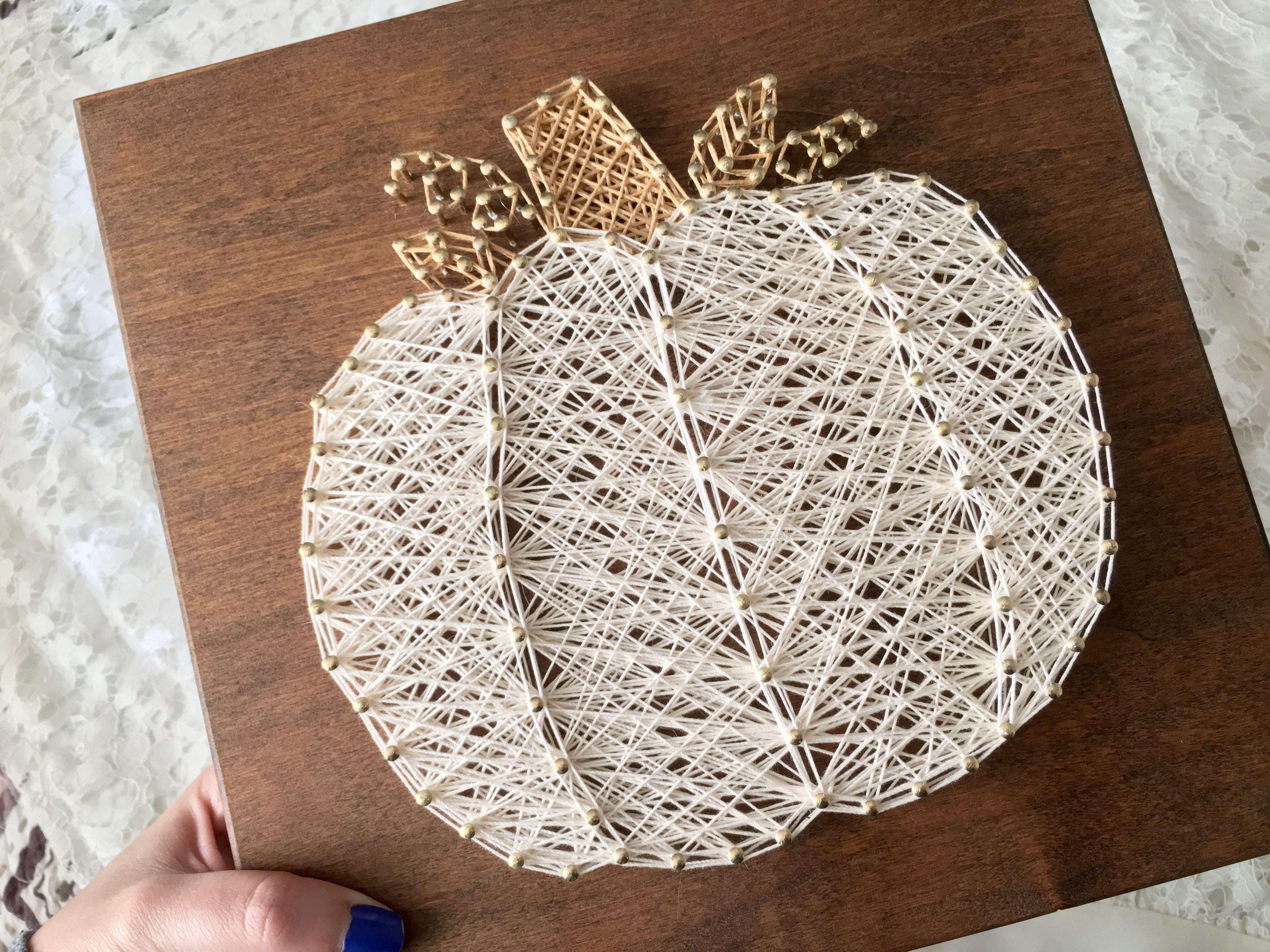 White Pumpkin String Art Fall Decor