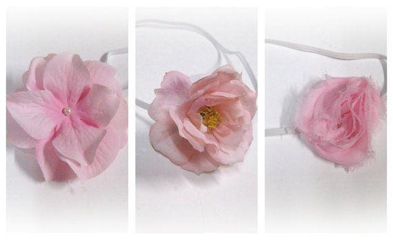 3 pack of pink newborn photo prop headbands by pinkladybuggirl, $14.00
