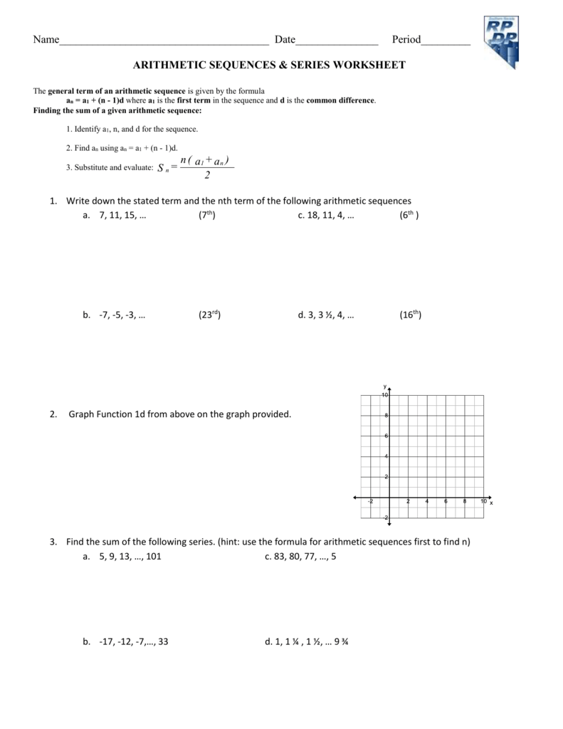 Arithmetic Sequence And Series Worksheets | Sequence, series ...