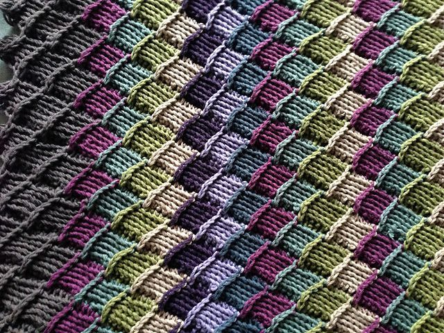 Ravelry Project Gallery For Tunisian Crochet Entrelac Throw Pattern