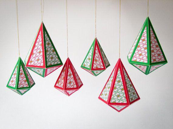 Diy Christmas Ornaments Set Of 8 Printable Templates A4 Sized