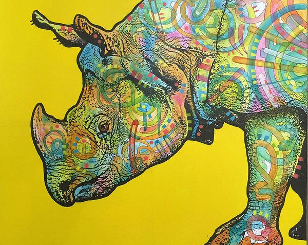 pop art painting rhino by dean russo - Dean Russo