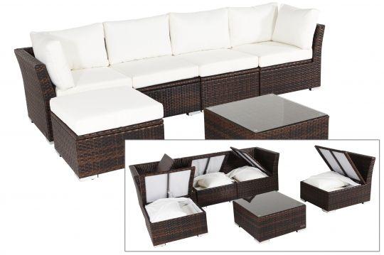 OUTFLEXX Loungemöbel, braun marmoriert, Polyrattan, 5 Personen ...
