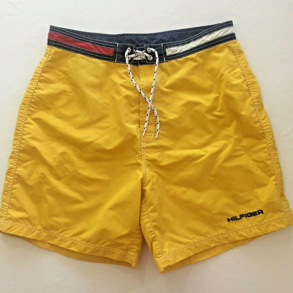 6415de8c6e Tommy Hilfiger Size Large Swim Trunks Yellow Tommy Color Block Unlined 2  Pocket #TommyHilfiger #Trunks