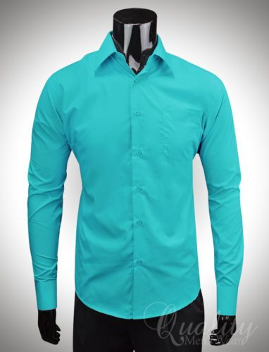 Berlioni 14-14.5 32/33 Barrel Cuff Teal Mens Dress Shirt NEW with ...
