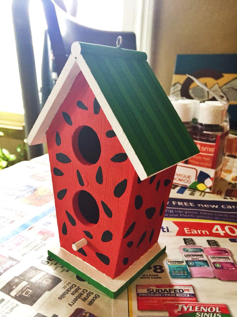 Mini Birdhouse Painted As A Watermelon Decorative Bird Houses Bird Houses Painted Hand Painted Birdhouses