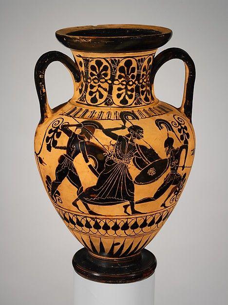 Terracotta Neck Amphora Jar Greek Black Figure Vase Painting