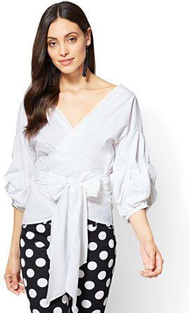 e0799a8f4e 7th Avenue - Ruffle-Sleeve Wrap Shirt | Women's Fashion | Wrap shirt ...