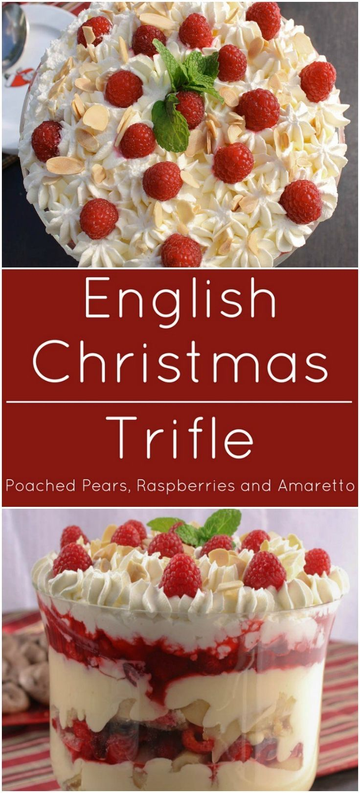 english christmas trifle with almond pound cake soaked with amaretto liqueur fresh raspberries and poached pears