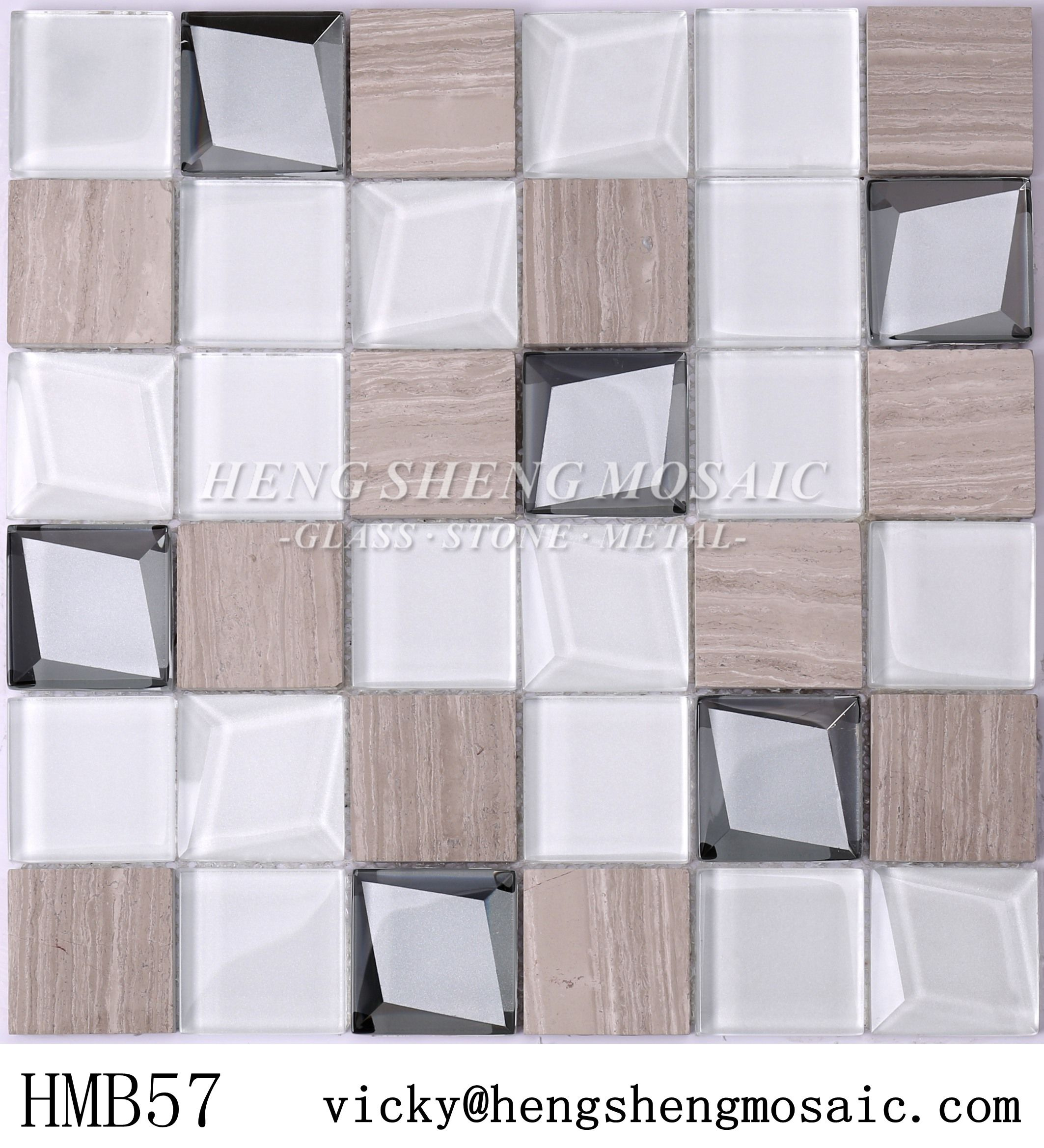 - Beveled Glass Mix Marble Grey Square Mosaic Backsplash Tile